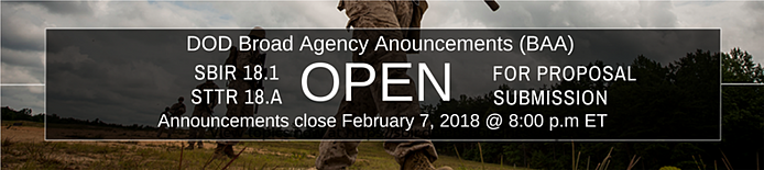 DoD SBIR STTR Program 2018.1 Now Open