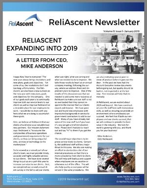 ReliAscent Newsletter - January 2019