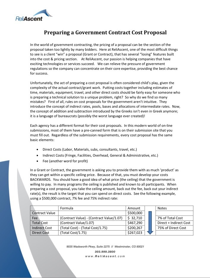 Contract Cost Proposal White Paper