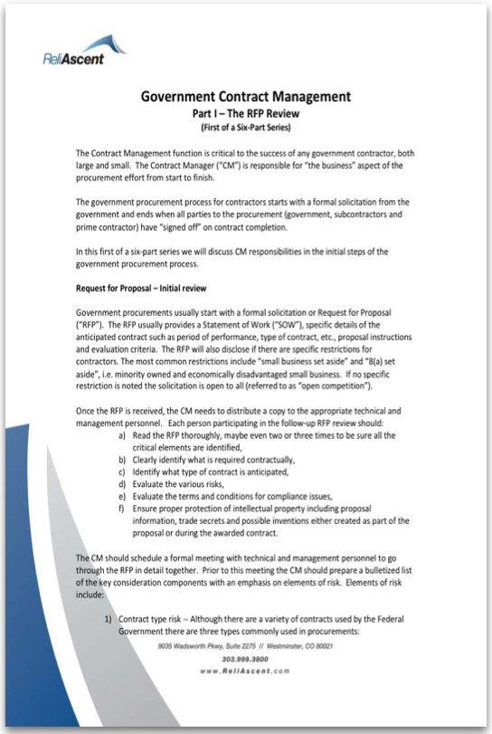 Government Contract Management - Part I White Paper